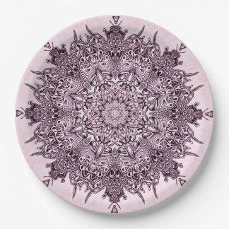 Art assez mauve de mandala des plaques à papier assiettes en papier