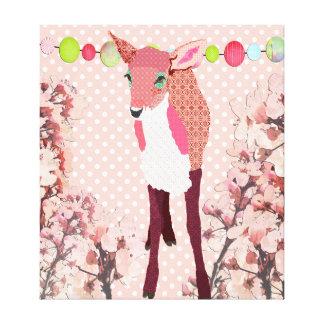 Art assez rose de Pok-un-point de faon de fleurs d Impression Sur Toile