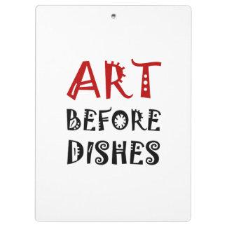 Art avant des plats