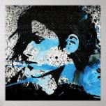 Art blanc abstrait d'aquarelle de fille de noir bl posters