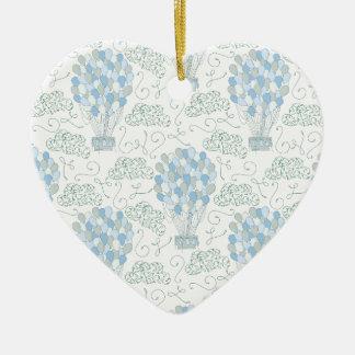 Art bleu chaud de mur de décor de maison de crèche ornement cœur en céramique