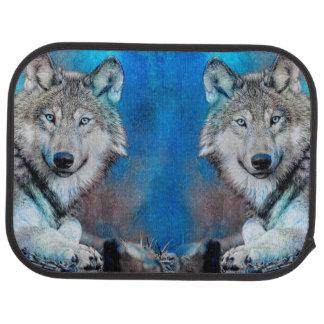 Art bleu de médias mélangés de loup tapis de sol