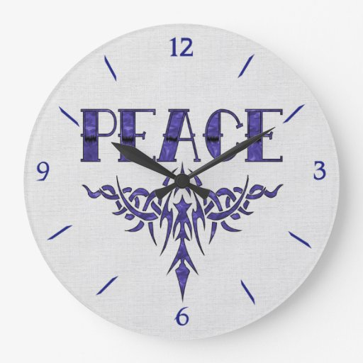 Art bleu de paix de tatouage horloge murale zazzle for Horloge murale grande taille
