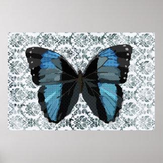 Art bleu de papillon de Boho Poster