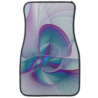Art bleu rose moderne coloré de fractale de tapis de voiture