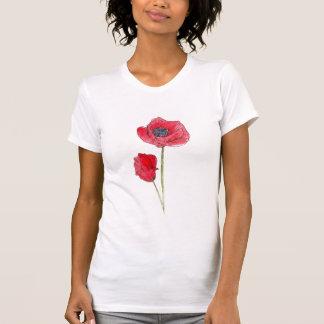 Art botanique de pavot d'aquarelle rouge de fleur t-shirt