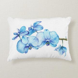 Art botanique d'orchidée bleue coussins décoratifs
