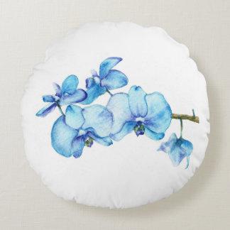 Art botanique d'orchidée bleue coussins ronds