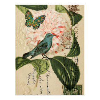 Art botanique français d'oiseau vintage chic de carte postale