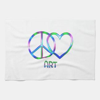 Art brillant d'amour de paix serviette pour les mains