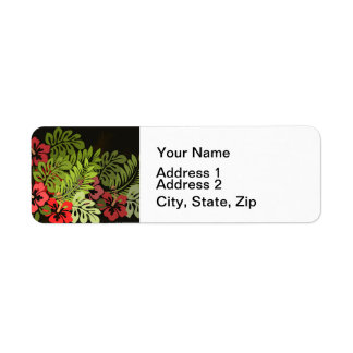 Art chic floral hawaïen tropical étiquette d'adresse retour