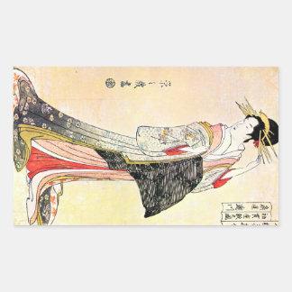 Art classique japonais oriental frais de dame de autocollant en rectangle