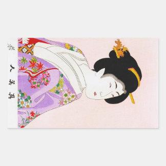 Art classique japonais oriental frais de dame de autocollant rectangulaire