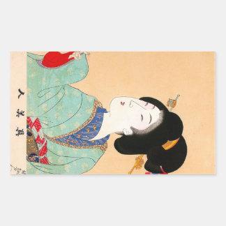 Art classique japonais oriental frais de dame de stickers en rectangle