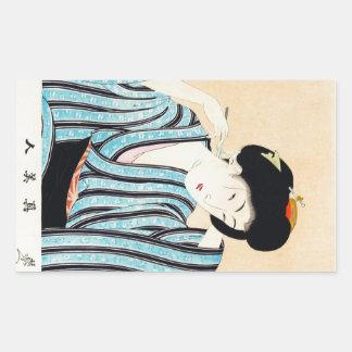 Art classique japonais oriental frais de dame de g stickers en rectangle