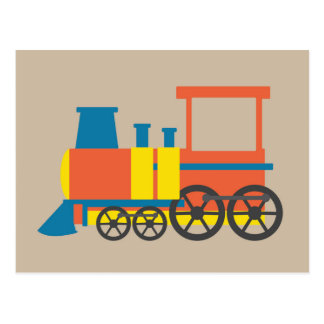 Art coloré d'amusement vibrant locomotif de train carte postale