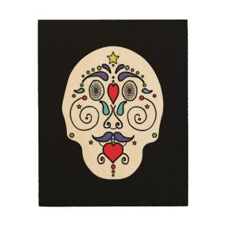 Art coloré de crâne sur le bois