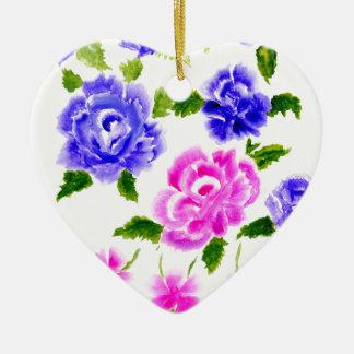 Art coloré de fleurs ornement cœur en céramique