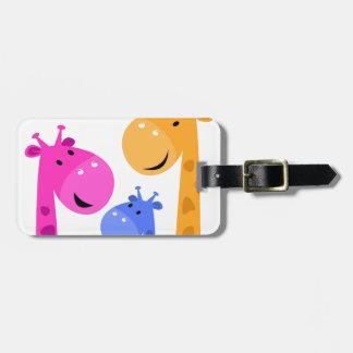 Art coloré de girafes étiquette à bagage