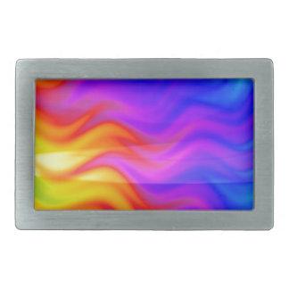 Art coloré de l'abrégé sur 3D arc-en-ciel Boucle De Ceinture Rectangulaire