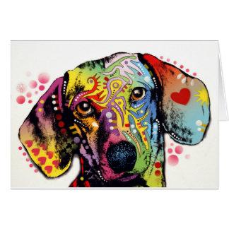 art coloré de teckel carte de vœux