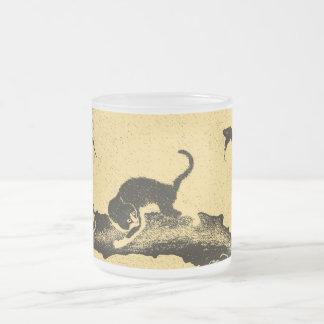 Art coréen vintage de chat mug en verre givré