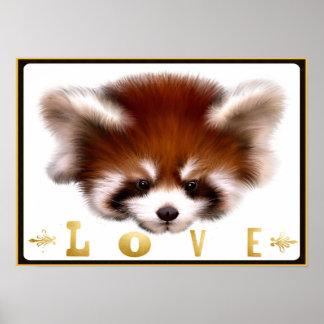Art d'affiche d'amour de panda rouge posters