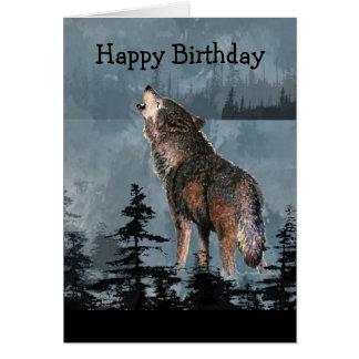 Art d'animal de loup d'hurlement de joyeux anniver carte de vœux