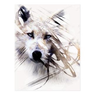 Art d'animal de loups de loup blanc carte postale