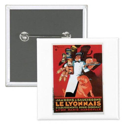Art d'annonce de nourriture de Pork Ham Le Lyonnai Badge Avec Épingle