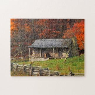Art d'aquarelle d'automne de cabine de pays du puzzle