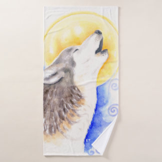 Art d'aquarelle de loup d'hurlement