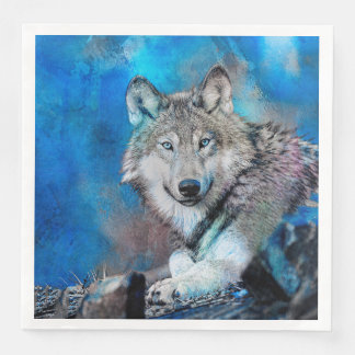 Art d'aquarelle de loup serviette jetable