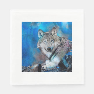Art d'aquarelle de loup serviettes jetables