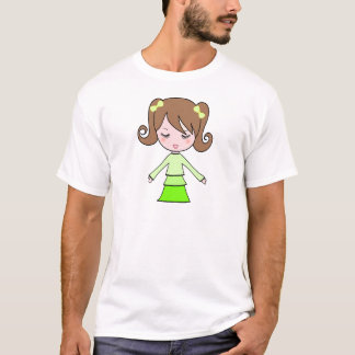Art de bande dessinée de robe de vert de fille de