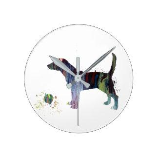 Art de beagle horloge ronde