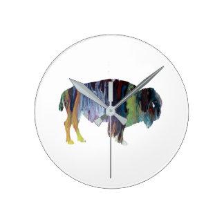 Art de bison horloge ronde