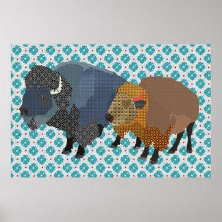 Art de bleu de Buffalo Poster