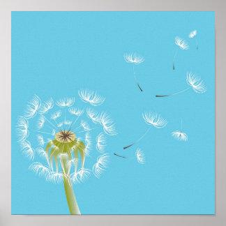 Art de bleu et de blanc de ciel de pissenlit poster