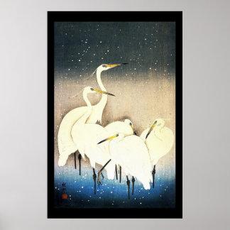 Art de bois de graveur d'Ukiyo-e - animaux - héron Posters