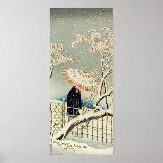 Art de bois de graveur d'Ukiyo-e - geisha dans la  Posters