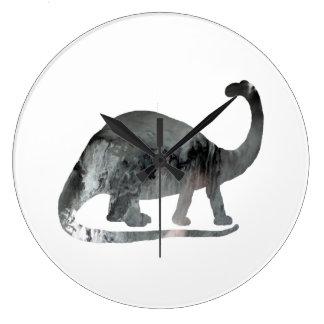 Art de brontosaure grande horloge ronde