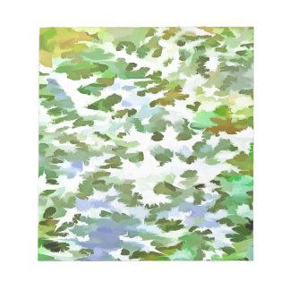 Art de bruit abstrait de feuillage en vert blanc blocs notes