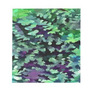 Art de bruit abstrait de feuillage en vert et blocs notes