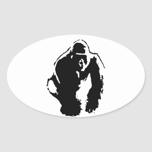 Art de bruit de gorille stickers ovales