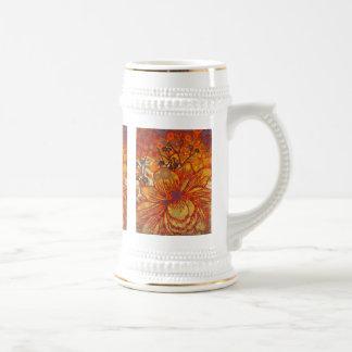 Art de bruit moderne floral orange et pourpre chope à bière