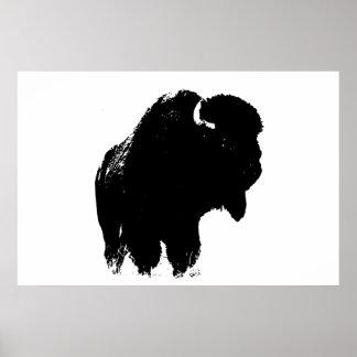 Art de bruit noir et blanc de silhouette de poster