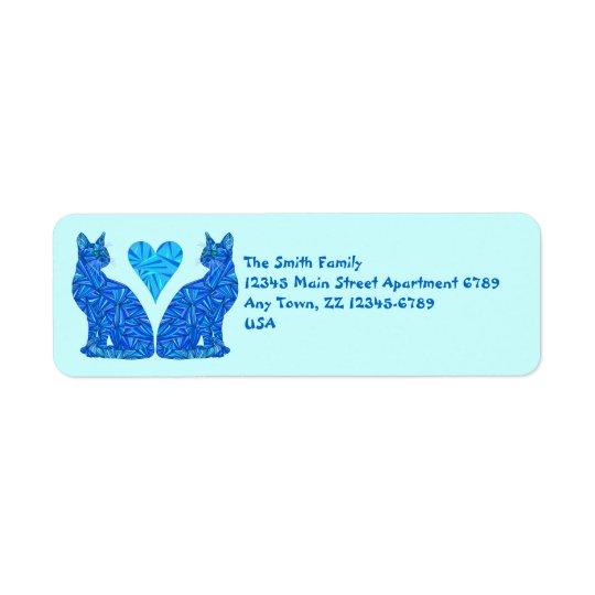 Art de chats et de coeur d'abrégé sur bleu de Z Étiquettes D'adresse Retour