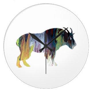 Art de chèvre grande horloge ronde
