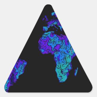 art de continents coloré par résumé bleu au néon autocollants en triangle